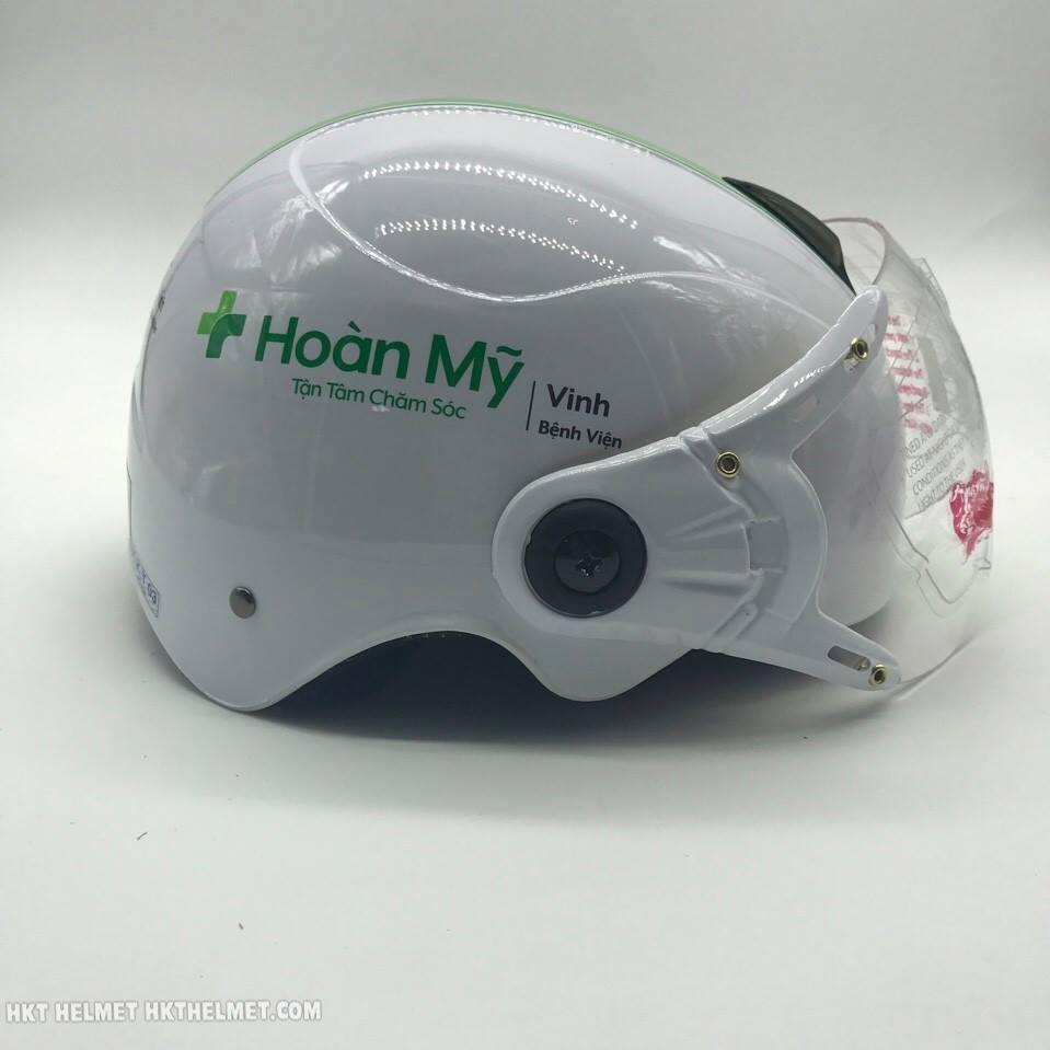 Mũ bảo hiểm quảng cáo có kính - Bệnh viện Hoàn Mỹ